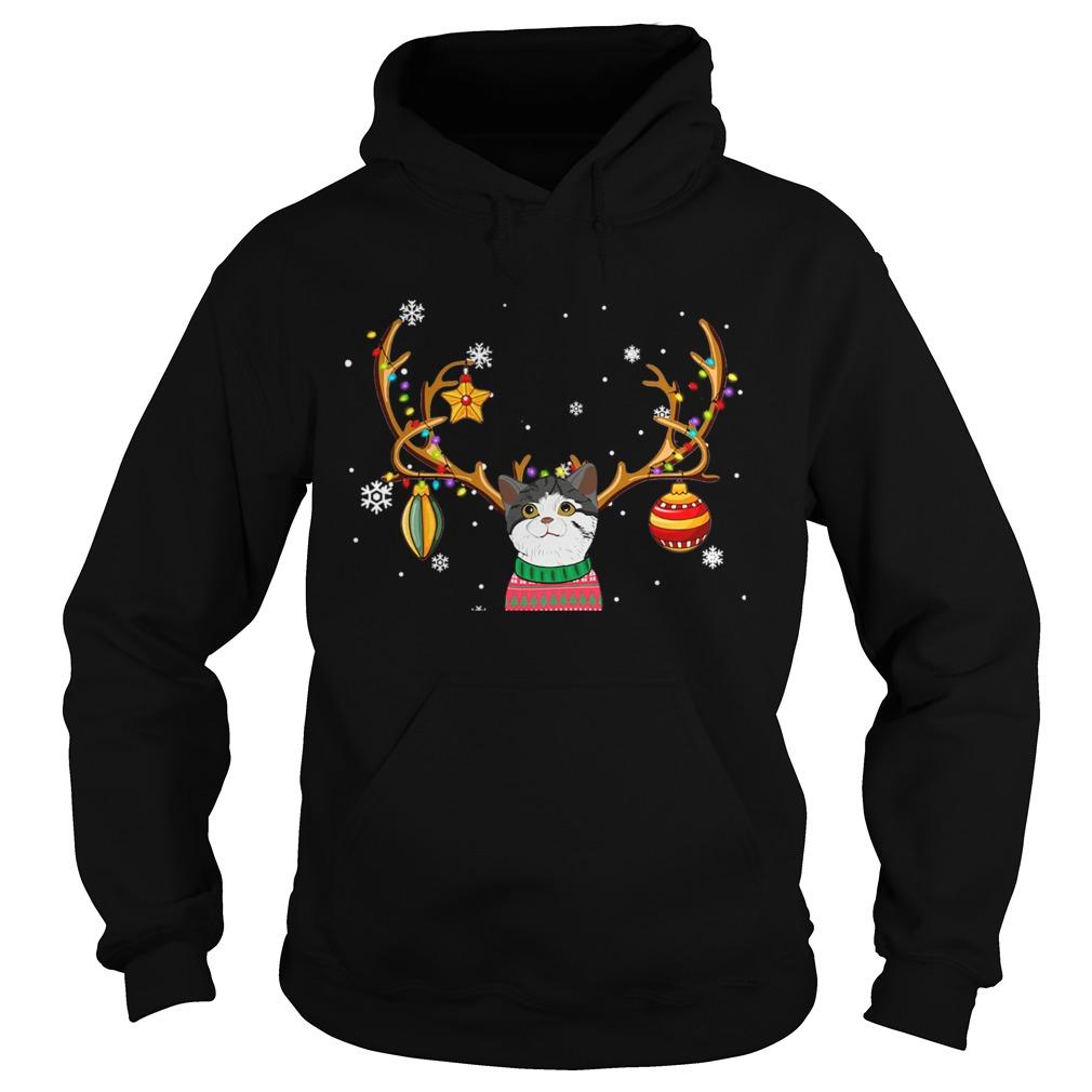 Cat Reindeer Christmas Holiday Funny TShirt Hoodie