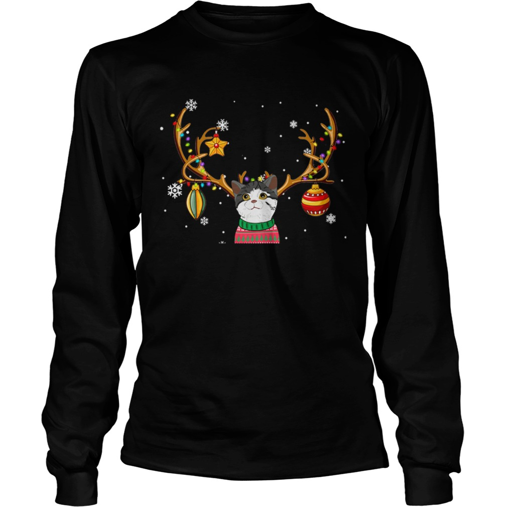 Cat Reindeer Christmas Holiday Funny TShirt LongSleeve