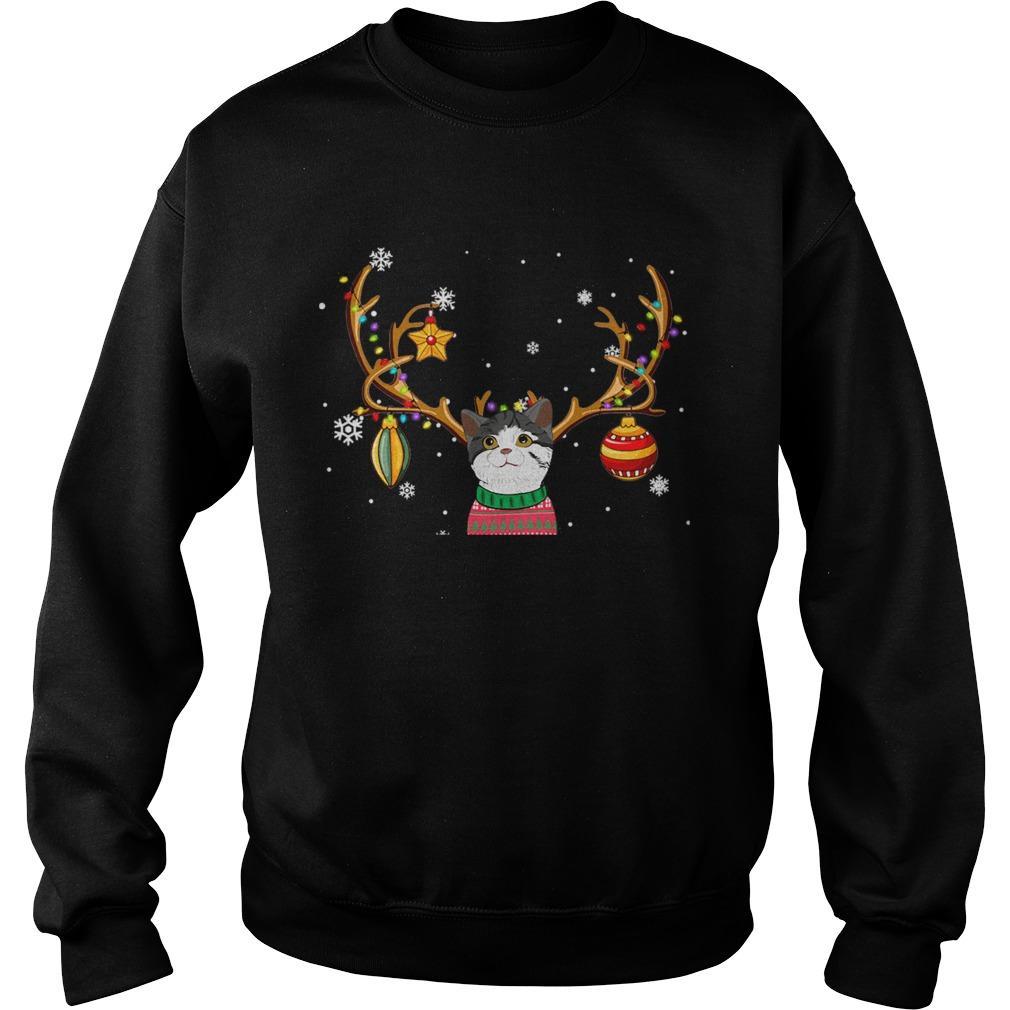 Cat Reindeer Christmas Holiday Funny TShirt Sweatshirt