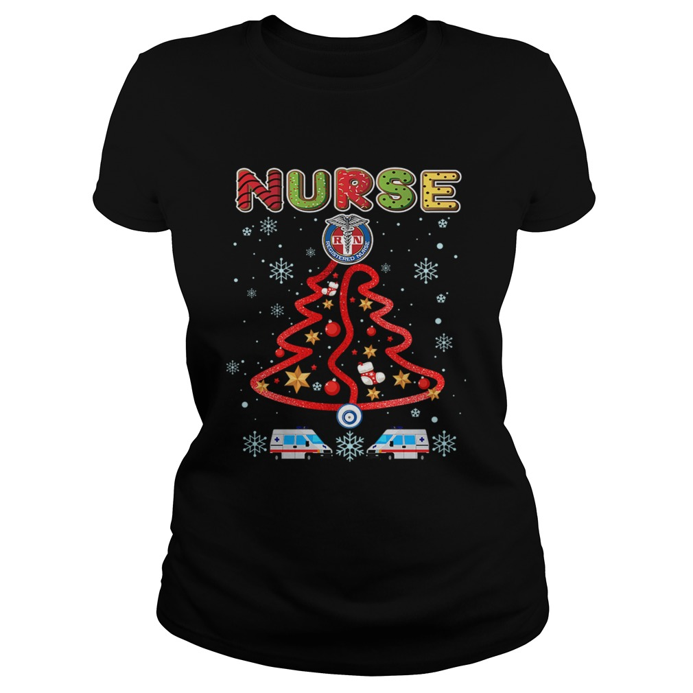 Nurse Christmas Tree Merry Xmas Gift TShirt Classic Ladies