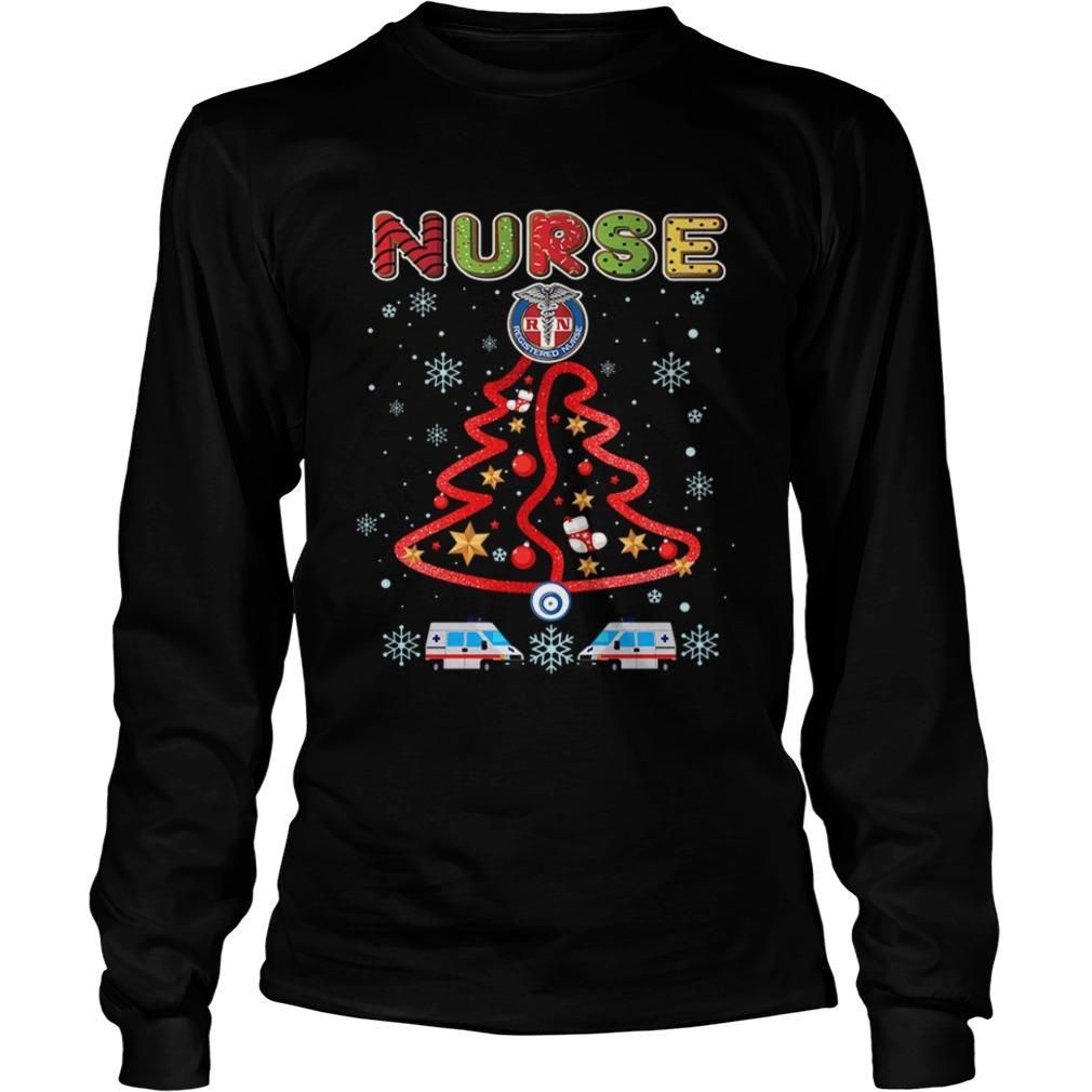 Nurse Christmas Tree Merry Xmas Gift TShirt LongSleeve