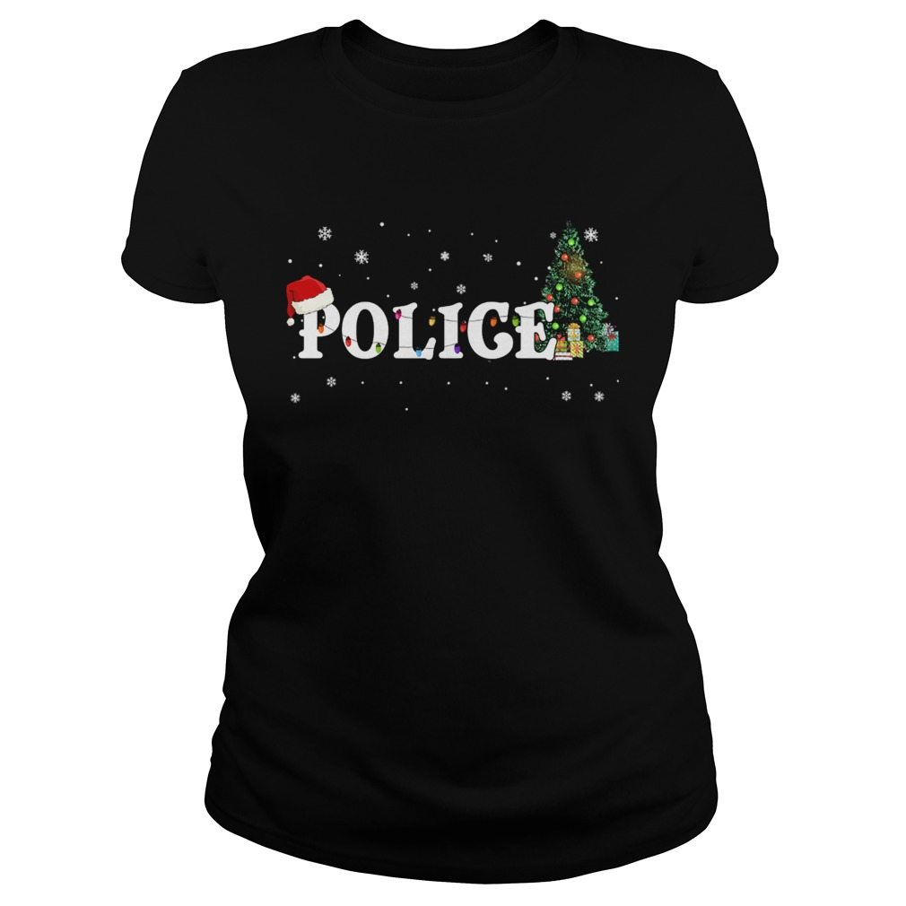 Police Christmas Santa Hat Holiday TShirt Classic Ladies