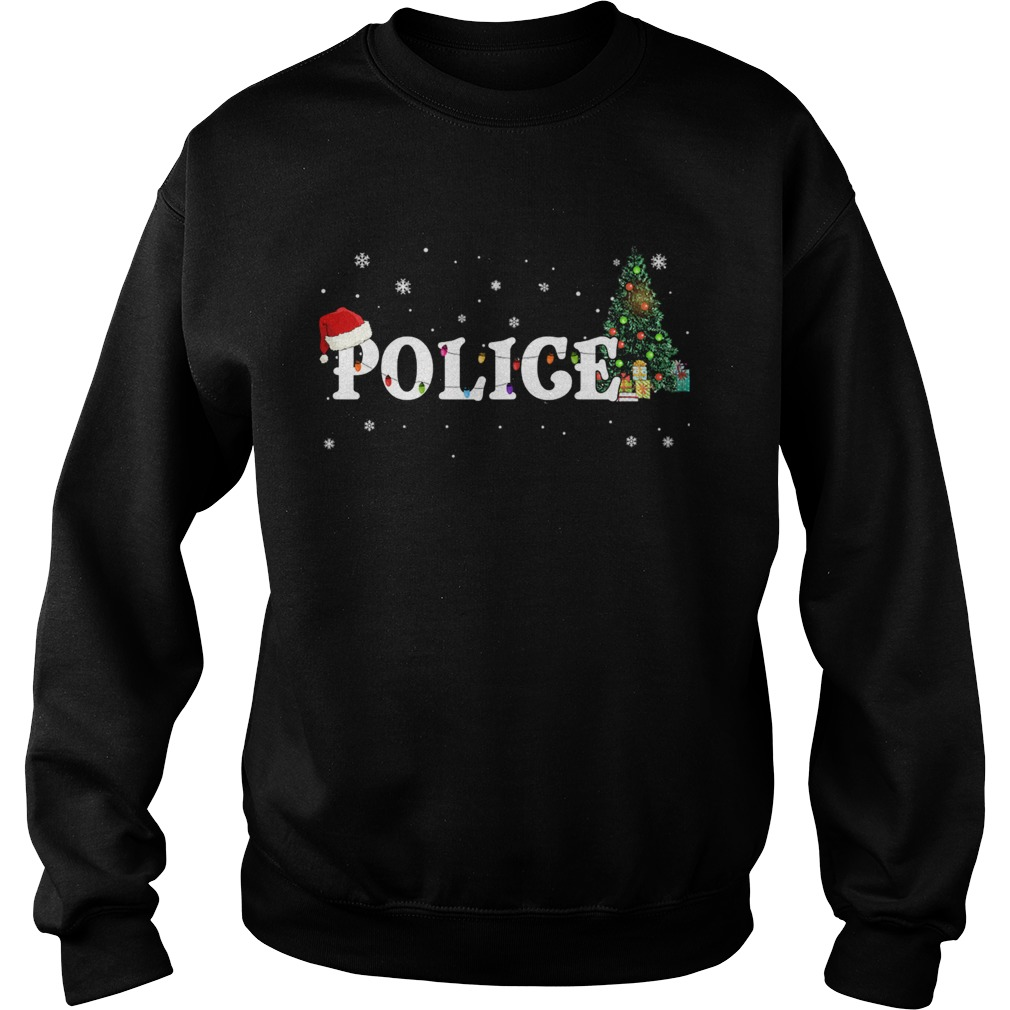 Police Christmas Santa Hat Holiday TShirt Sweatshirt