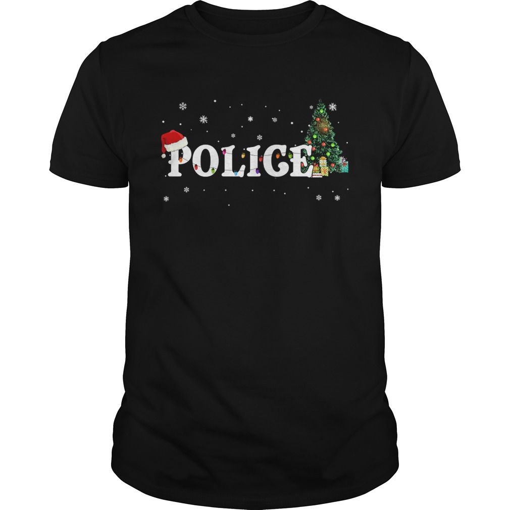 Police Christmas Santa Hat Holiday TShirt Unisex
