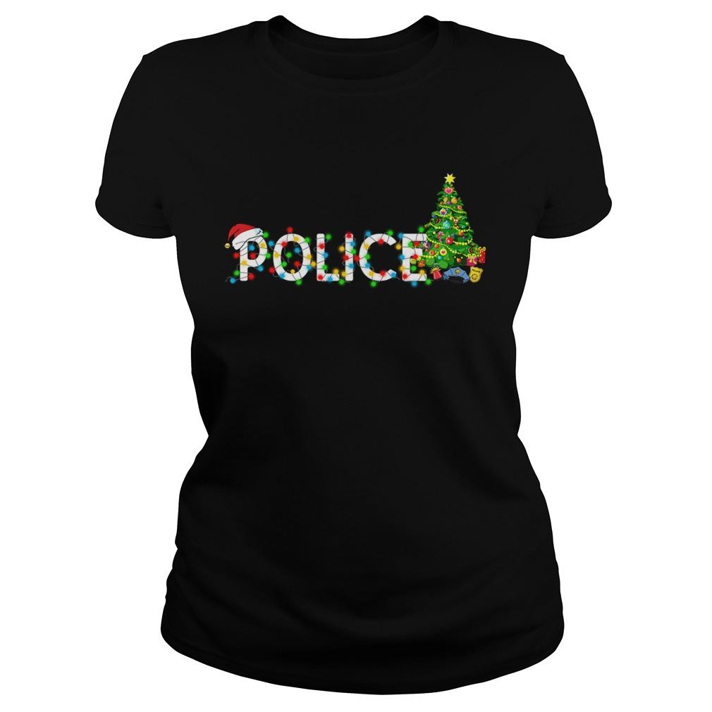 Police Christmas Tree Santa Claus Gift TShirt Classic Ladies