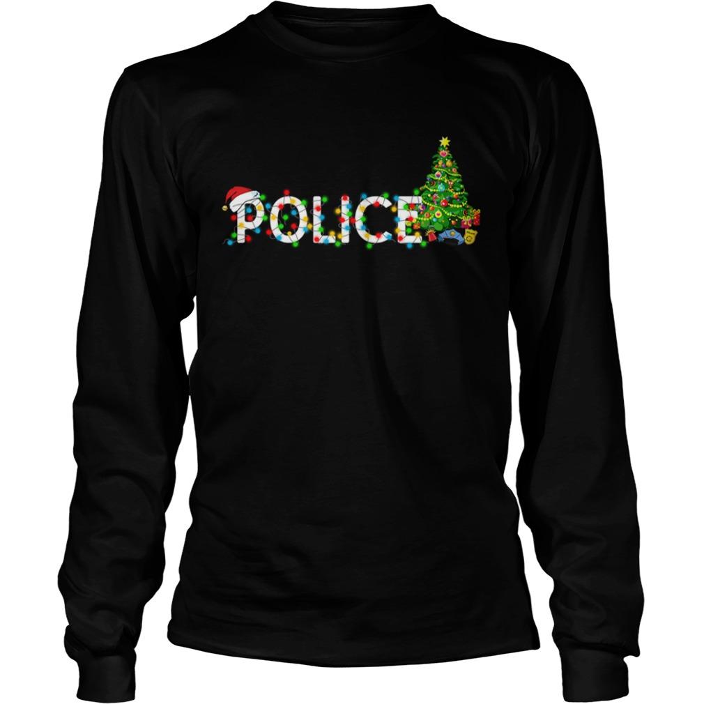 Police Christmas Tree Santa Claus Gift TShirt LongSleeve