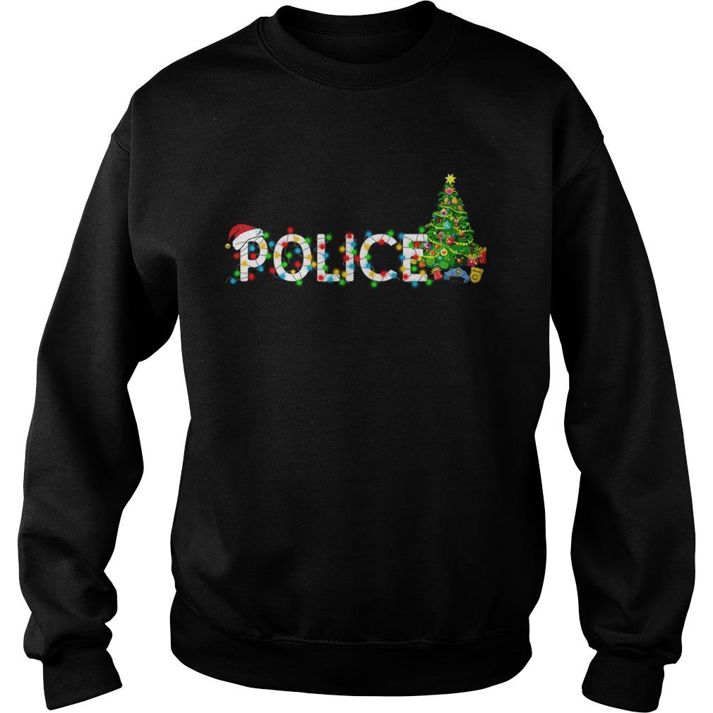 Police Christmas Tree Santa Claus Gift TShirt Sweatshirt