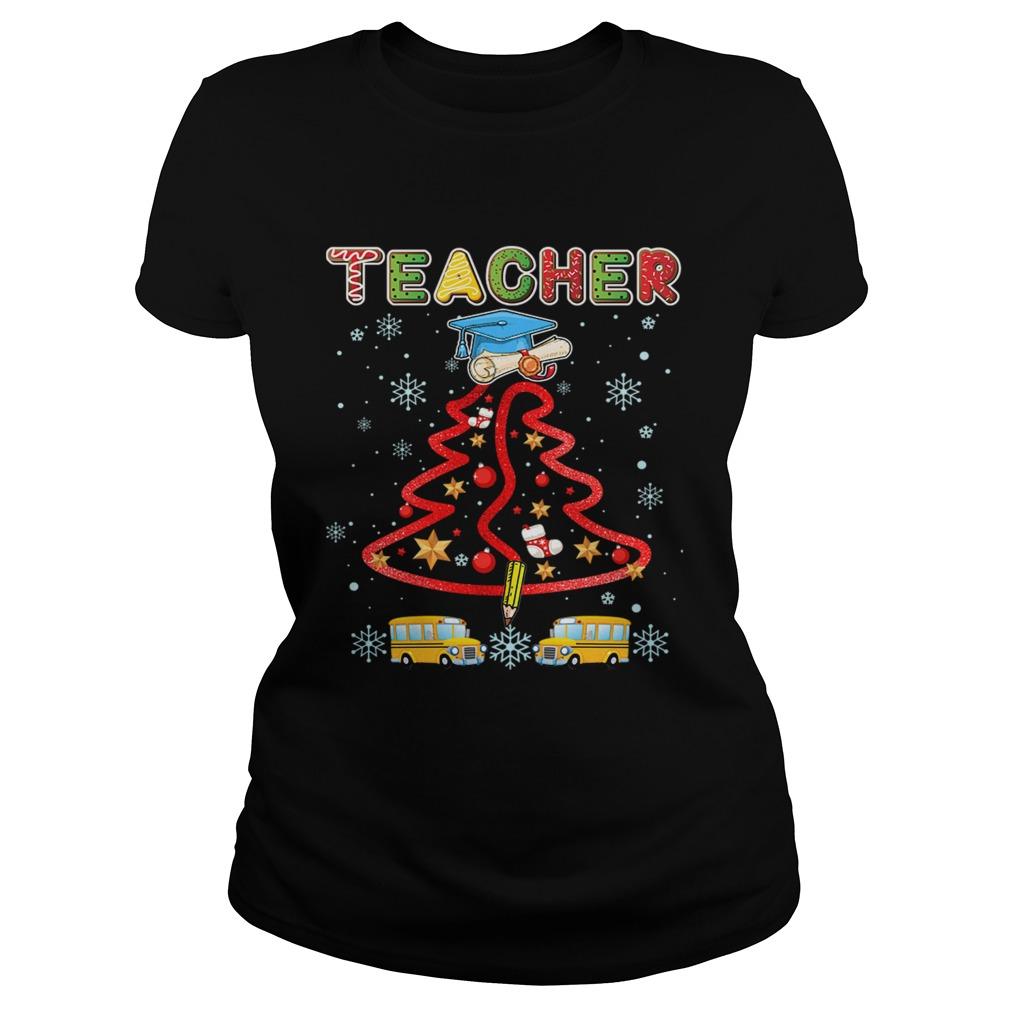 Teacher Christmas Tree Merry Xmas Gift TShirt Classic Ladies