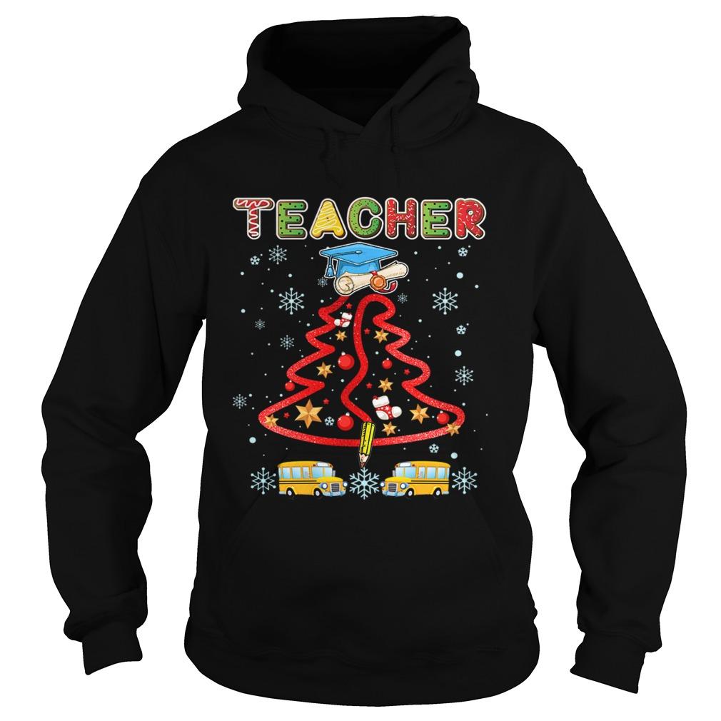 Teacher Christmas Tree Merry Xmas Gift TShirt Hoodie