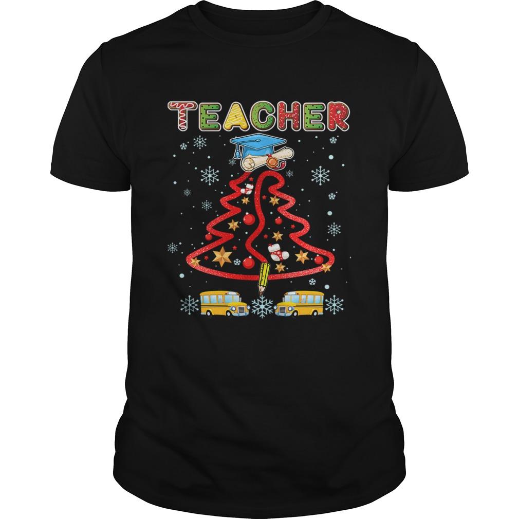 Teacher Christmas Tree Merry Xmas Gift TShirt Unisex