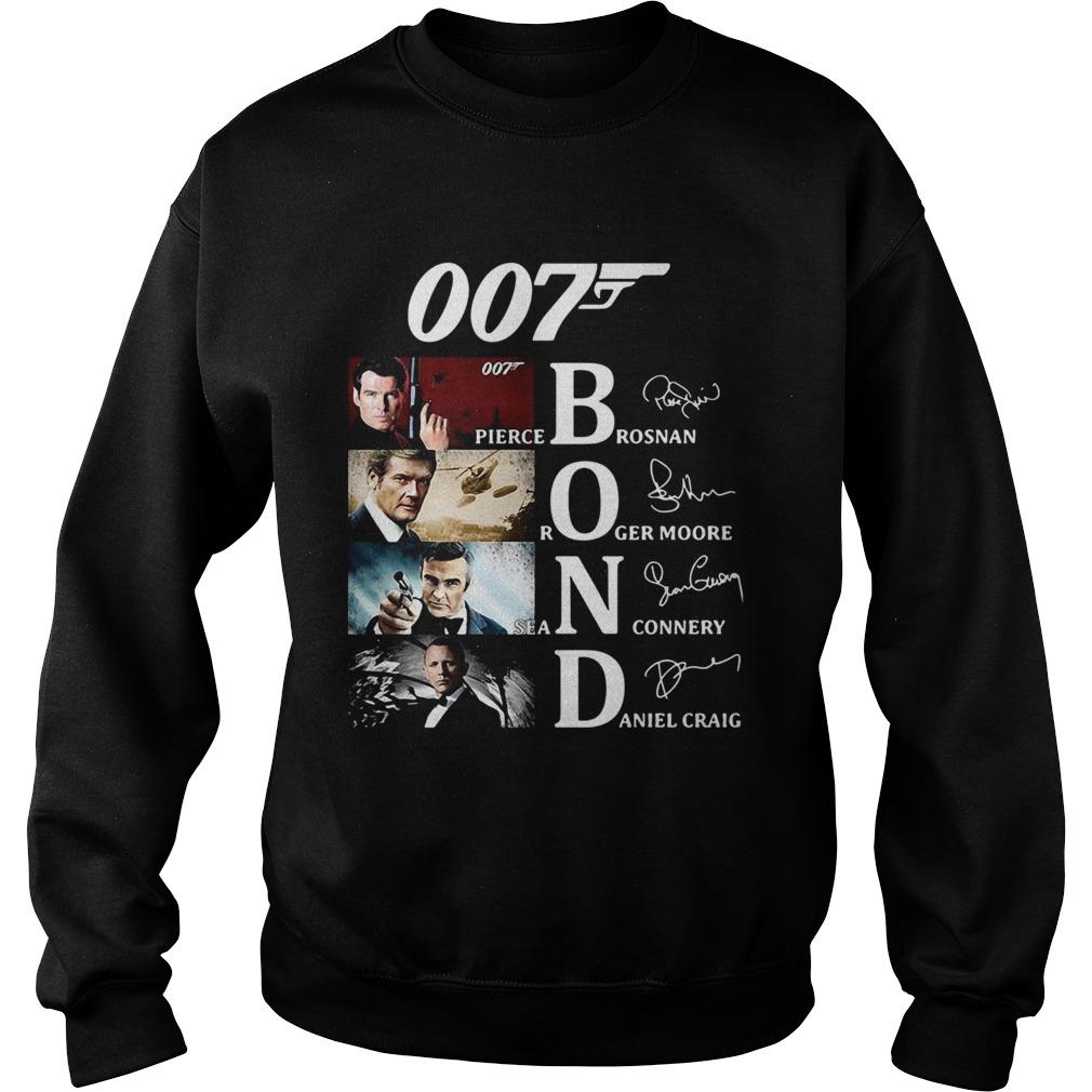 007 Pierce Brosnan Roger Moore Sean Connery Daniel Craig Signatures  Sweatshirt