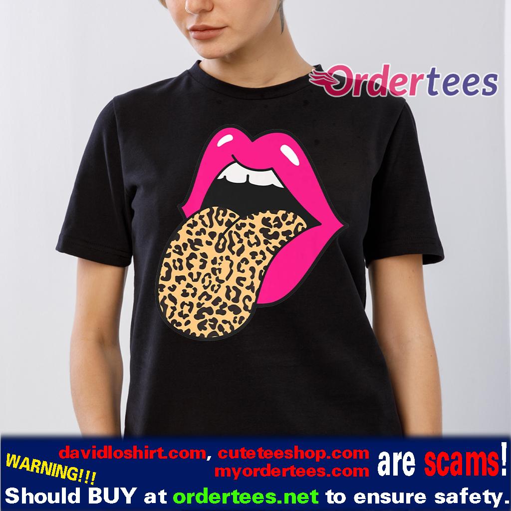 Hot Pink Lips Leopard Tongue Trendy Cheetah Animal shirts