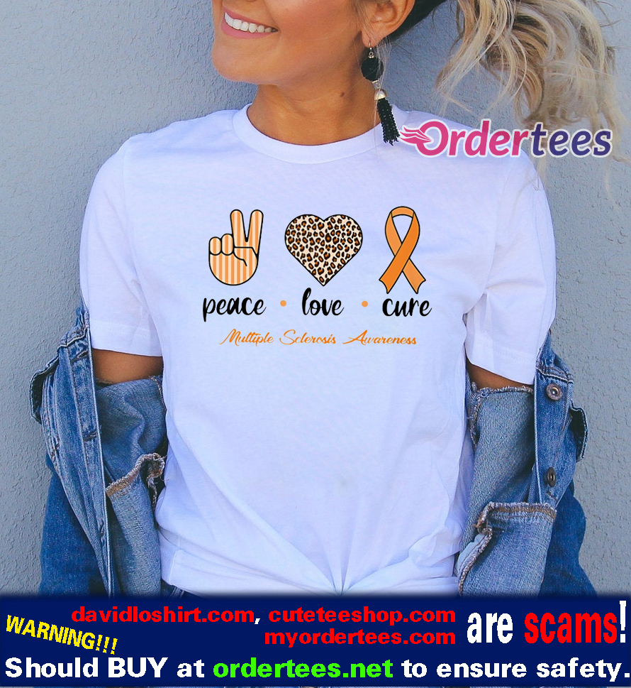 Peace Love Cure Ribbon Multiple Sclerosis Awareness t shirts