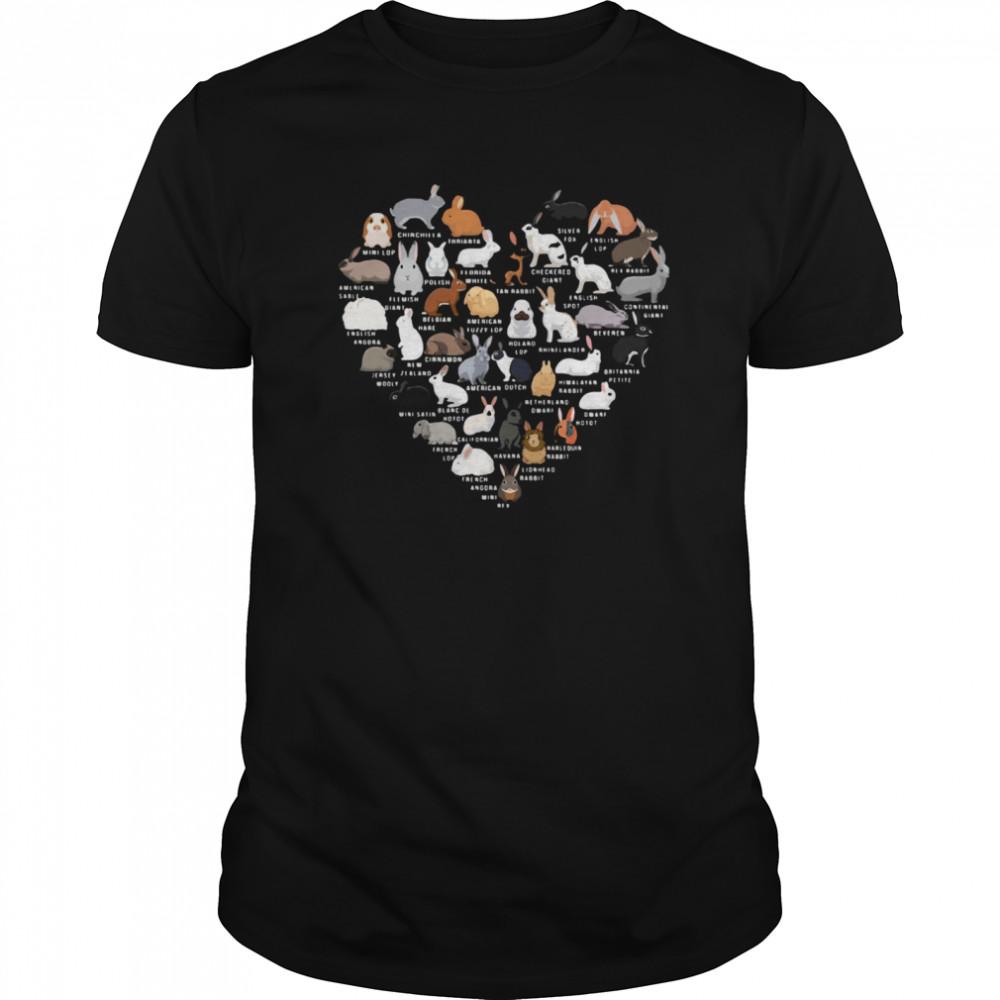 Love Bunnies Heart  Classic Men's T-shirt