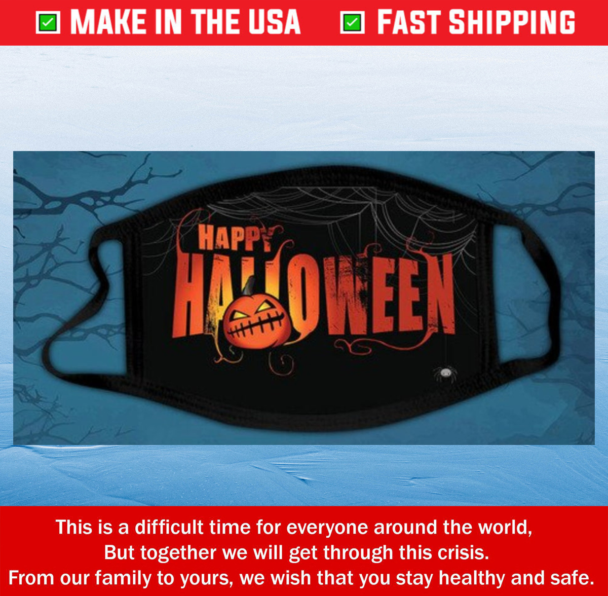 HAPPY HALLOWEEN FACE MASk double layer mask cloth Cotton Face Mask