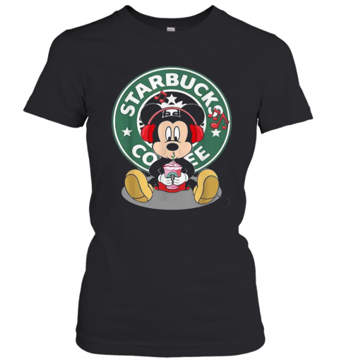 Mickey Mouse Drinking Starbucks Coffee And Listening Music T-Shirt Classic Women's T-shirt