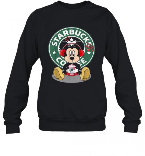 Mickey Mouse Drinking Starbucks Coffee And Listening Music T-Shirt Unisex Sweatshirt