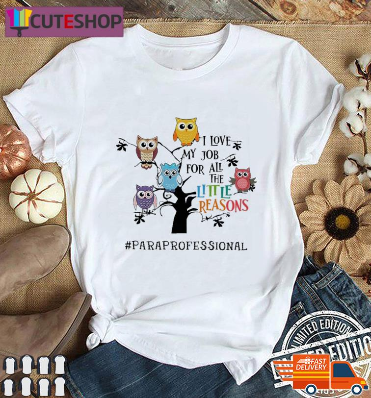 Owls I Love My Job For All The Little Reasons Paraprofessional Shirt